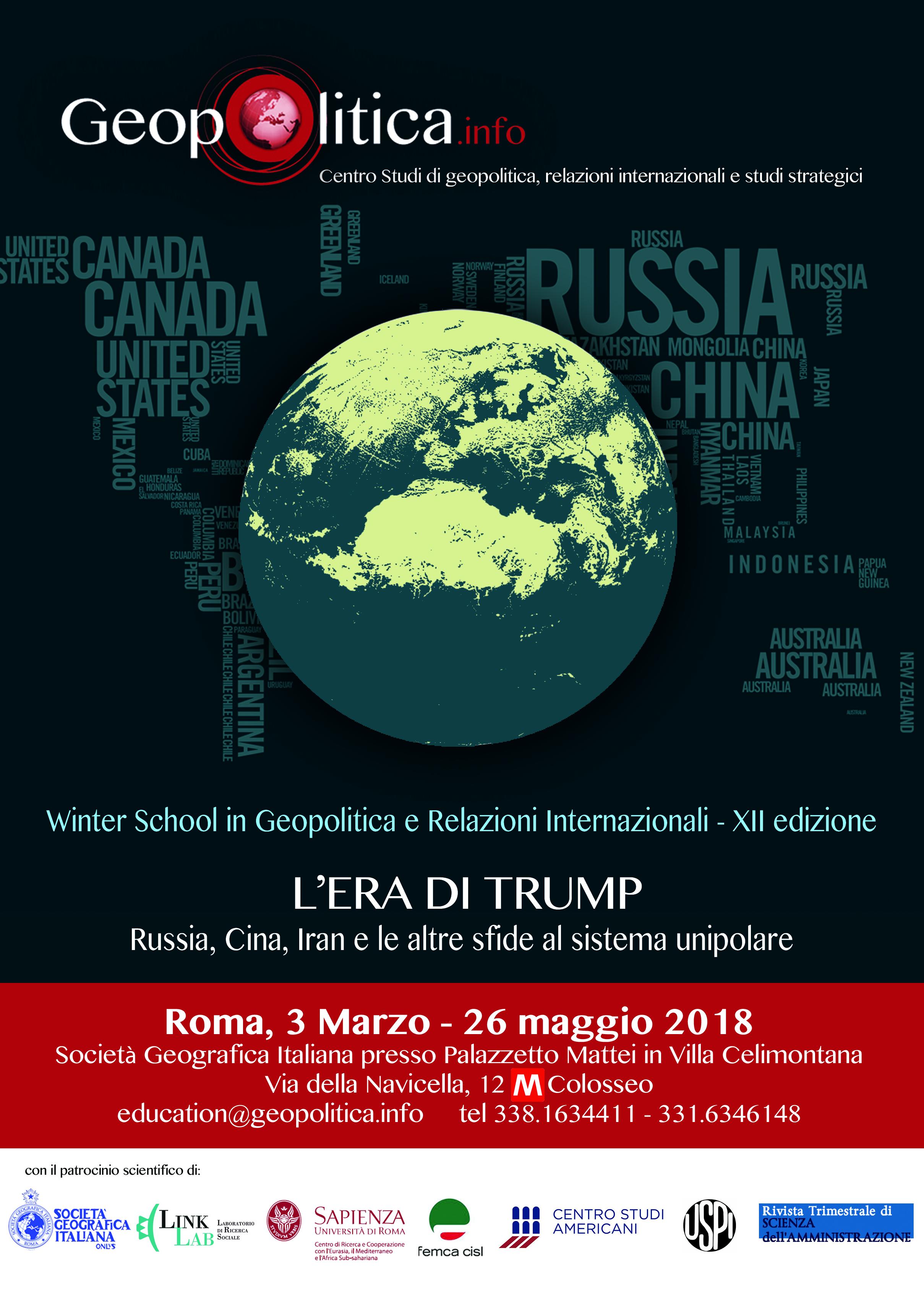 XII Winter School in Geopolitica e Relazioni internazionali a Roma / dal 3 marzo 2018 – Scarica il programma! - GEOPOLITICA.info