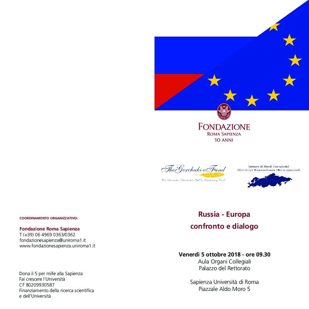 """05/10  """"Russia – Europa: confronto e dialogo"""" – Fondazione Roma Sapienza - Geopolitica.info"""