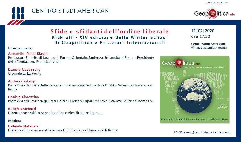 Sfide e sfidanti dell'ordine liberale – 11/2 h. 17.30 @Centro Studi Americani - Geopolitica.info