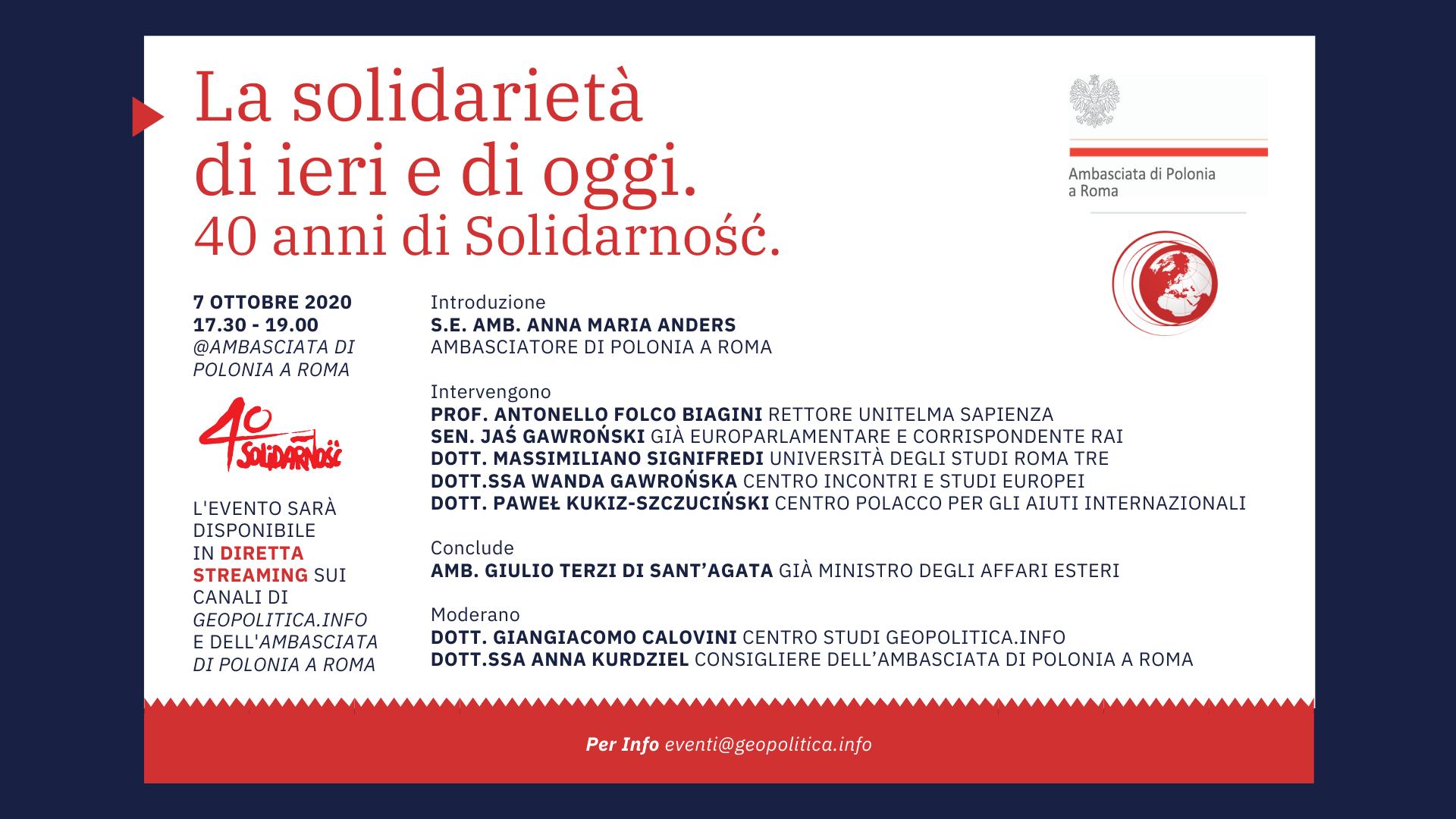 La solidarietà di ieri e di oggi. 40 anni di Solidarność. - Geopolitica.info