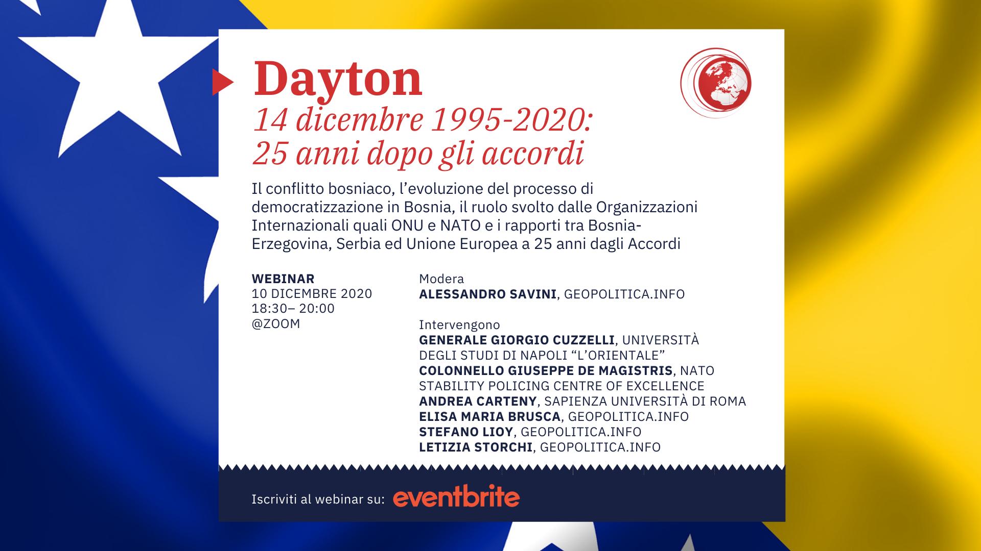 Dayton, 1995-2020: 25 anni dopo gli Accordi – Webinar @zoom – 10 dicembre 2020, ore 18.30 - Geopolitica.info