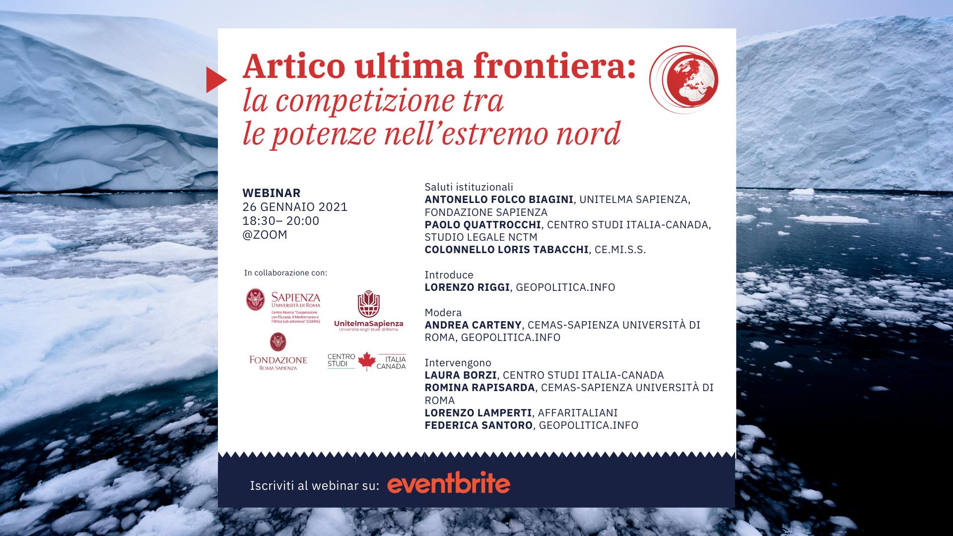 Artico ultima frontiera: la competizione tra le potenze nell'estremo nord – 26 gennaio 2021, ore 18.30 – 20.00 – Webinar @zoom - Geopolitica.info