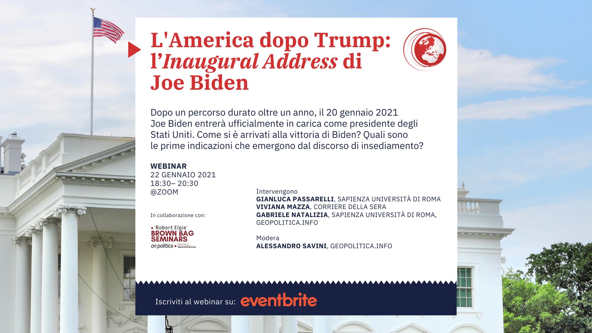 L'America dopo Trump:  l'Inaugural Address di Joe Biden – 22 gennaio 2021, ore 18.30 – 20.30 – Webinar @zoom - Geopolitica.info